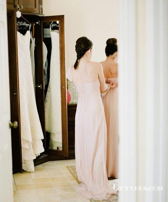 One Shoulder Sleeveless Backless A Line Chiffon Long Bridesmaid Dresses, TYP1808