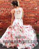 Two Pieces Lace Bodice Printed Flower Skirt Long Evening Prom Dresses, TYP0403