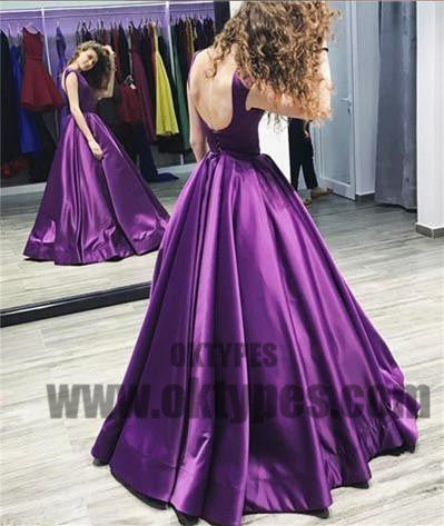 Long Floor Length Satin Prom Dresses, Bateau Prom Dresses, Lace Up Prom Dresses, Charming Evening Dresses, TYP0261