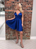 Simple Royal Blue Spaghetti Straps Short Cheap Homecoming Dresses Under 100, CM574