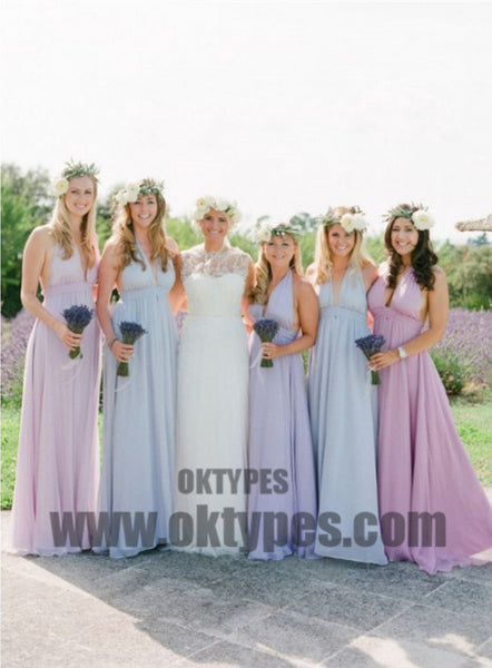 A line Bridesmaid Dresses, Lilac Bridesmaid Dresses, Long Bridesmaid Dresses With Bodice Sleeveless V-Neck, TYP0446