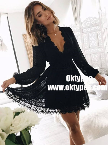 0dd7bef3b12 A-Line V-Neck Long Sleeves Little Black Lace Homecoming Dresses ...