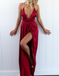 A-Line V-Neck Criss-Cross Back Blush Elastic Satin Prom Dresses with Split, TYP1284