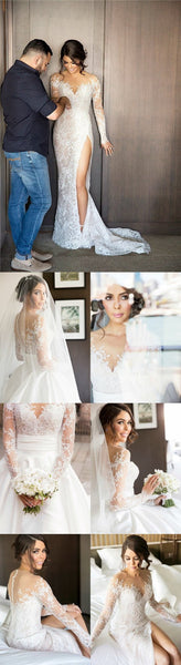 Long Sleeve See Through Lace Mermaid V-back Wedding Dresses, Romantic Bridal Gown, TYP0940