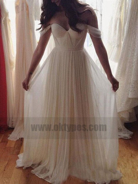 Off Shoulder Unique Casual Cheap Beach Wedding Dresses, TYP0820