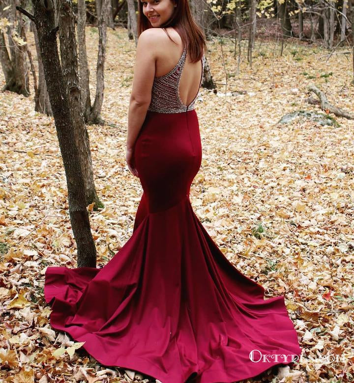 Halter Wine Red Long Beaded Prom Evening Dress with Open Back, TYP1719