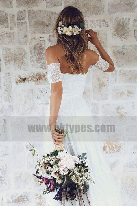 Off Shoulder Casual Cheap Ivory Lace Wedding Dresses Online, TYP0798