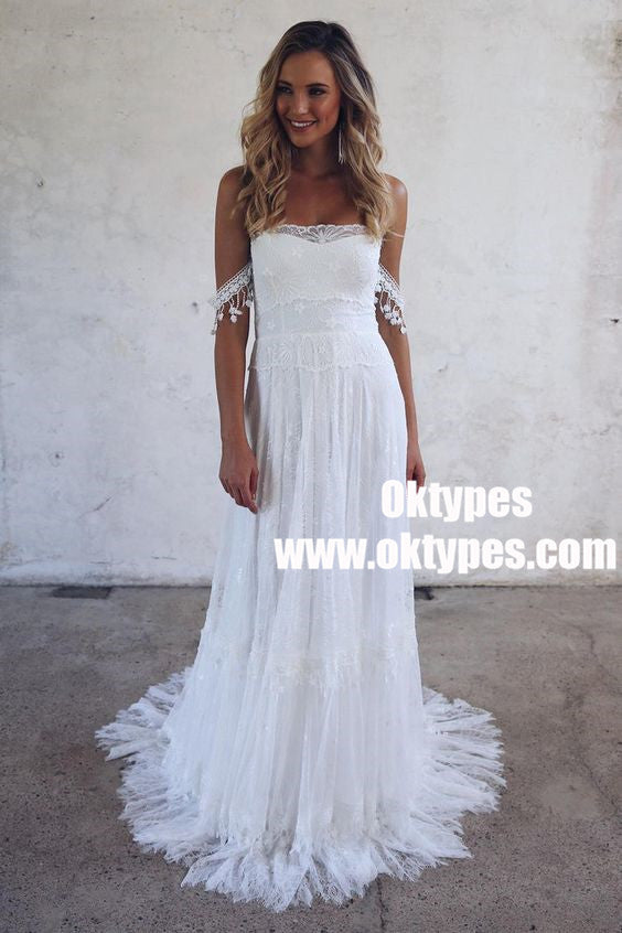 A-Line Off-Shoulder Lace Beach Wedding Dress with Appliques, TYP0860
