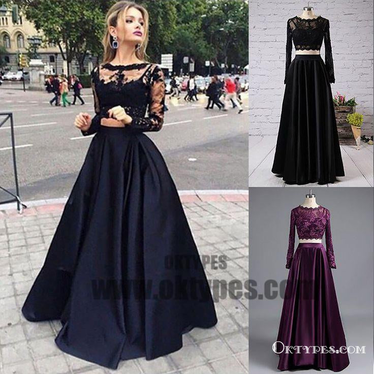 Black Two Piece Long Sleeve Prom Dresses, A-line Lace Two Piece Long ...
