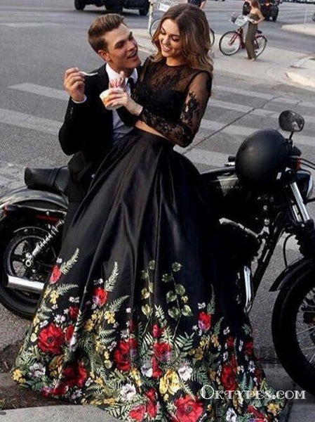 Two Piece Black Prom Dresses, Long Sleeve Prom Dresses, Open-back Prom Dresses, Appliques lace Prom Dresses,TYP0305