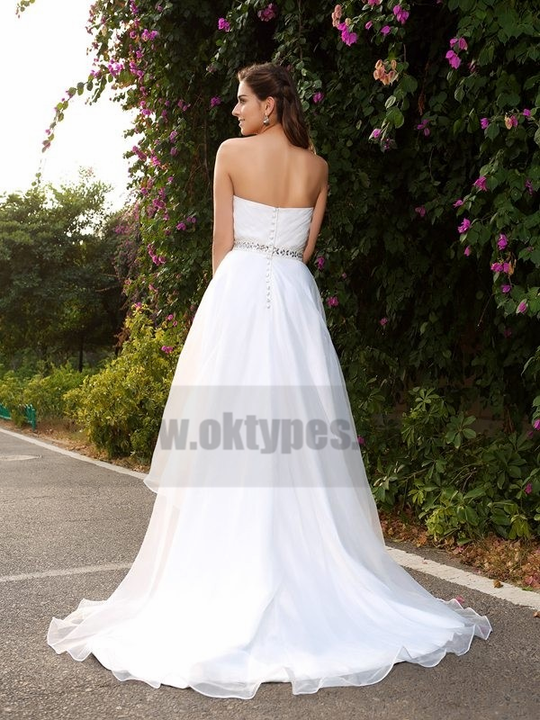 Simple Cheap Organza A-line High Low Wedding Dresses Online, TYP0797