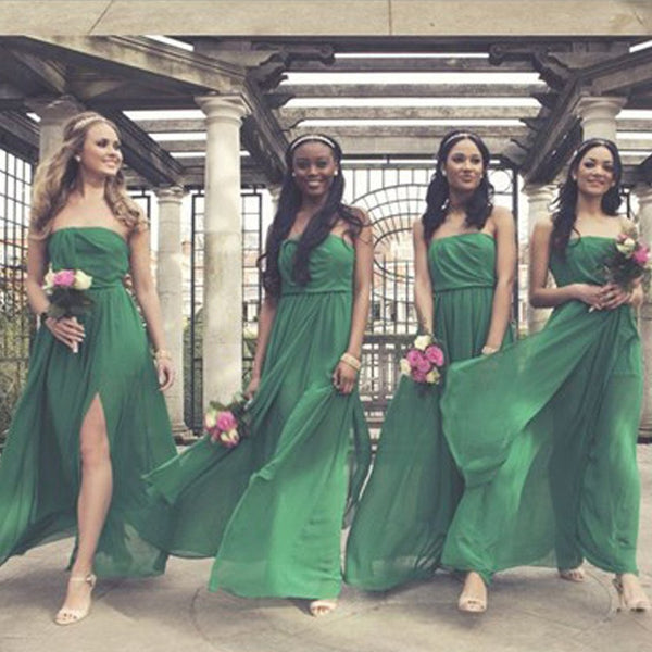 On Sale Side Split Straight Neckline Green Chiffon Pleating Long Wedding Guest Dresses, TYP0149