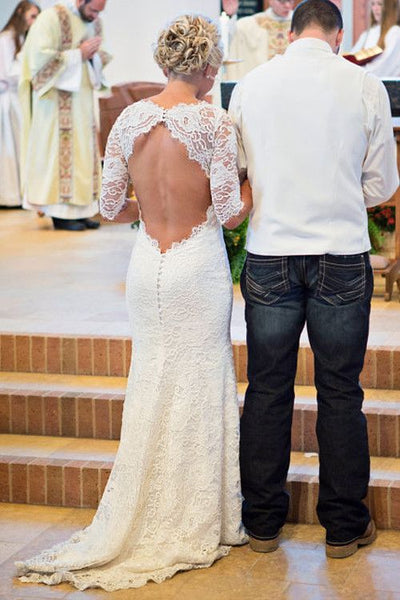 Sexy Mermaid White Scoop Half Sleeves Long Cheap Lace Wedding Dresses Online, TYP1058