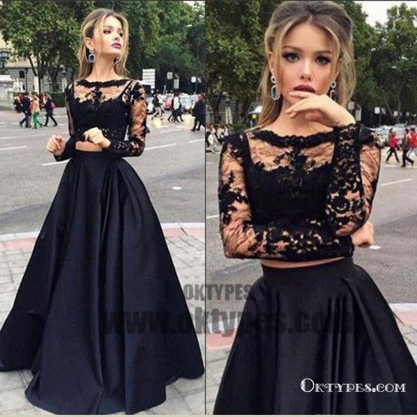 Black Two Piece Long Sleeve Prom Dresses, A-line Lace Two Piece Long Prom Dresses, Grad Dresses, Ball Gown Prom Dresses, TYP0067