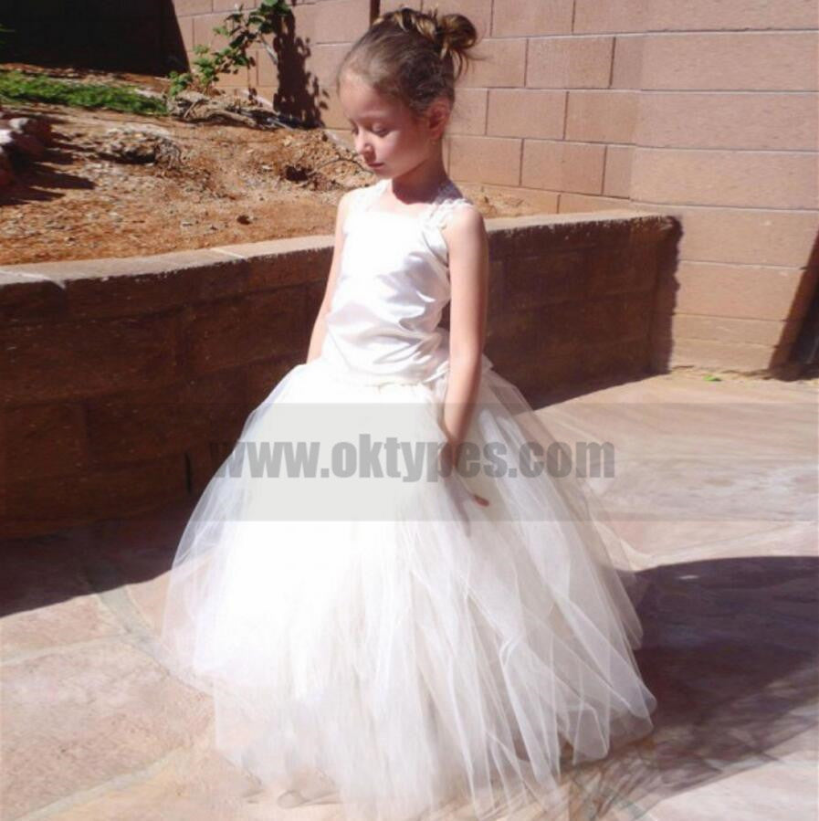Satin Tulle Lace Flower Girl Dresses, Lovely Tutu Dresses, TYP0806