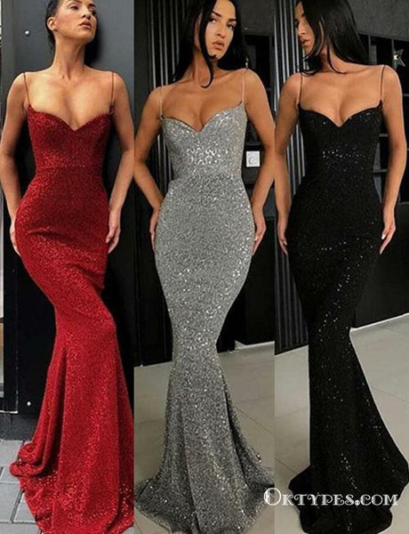 Sexy Mermaid Spaghetti Straps Burgundy Long Cheap Prom Dresses, TYP1815