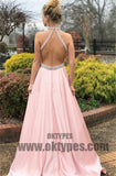 Long Mermaid Satin Prom Dresses, Halter Prom Dresses, Open-back Prom Dresses, Elegant Evening Dresses, TYP0263