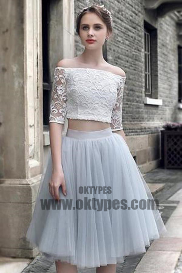 2 pieces Lace Top Half Sleeve Light Grey Tulle Skirt Homecoming Dresses, Popular Homecoming Dresses, TYP0515