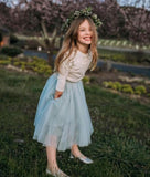 Cute Round Neck Mint Tulle Flower Girl Dress with Pockets&Appliques, TYP1068