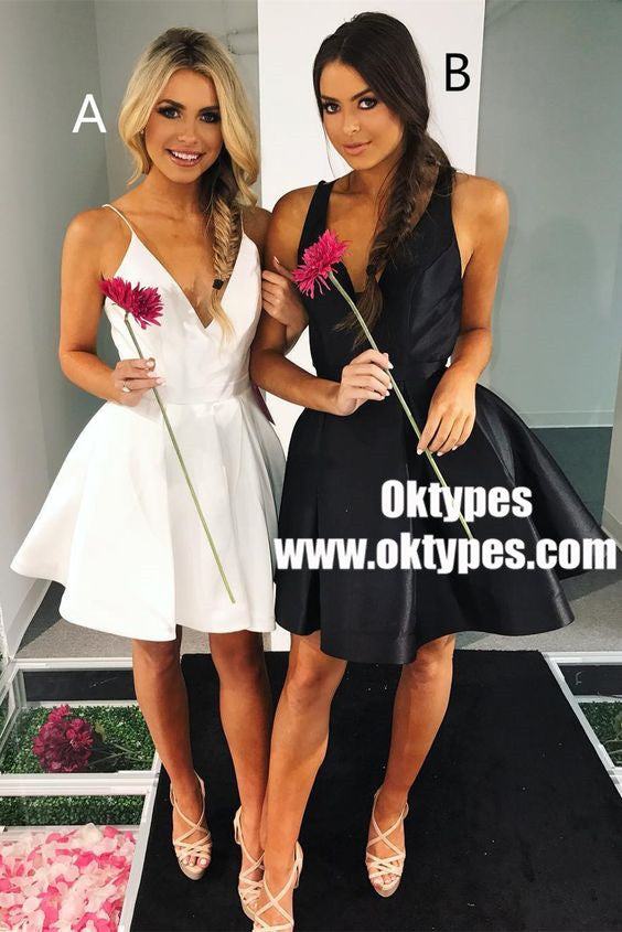 A-Line V-Neck Pleated White Short Homecoming Party Dresses, TYP0863