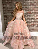 Pink Long Appliques Tulle Prom Dresses, Scoop Evening Prom Dresses, Prom Dresses, TYP0471