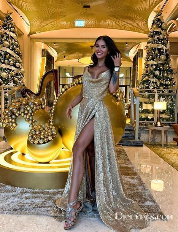 Shiny Gold Sequin Split Spaghetti Straps Evening Dresses Prom Dresses , TYP1910