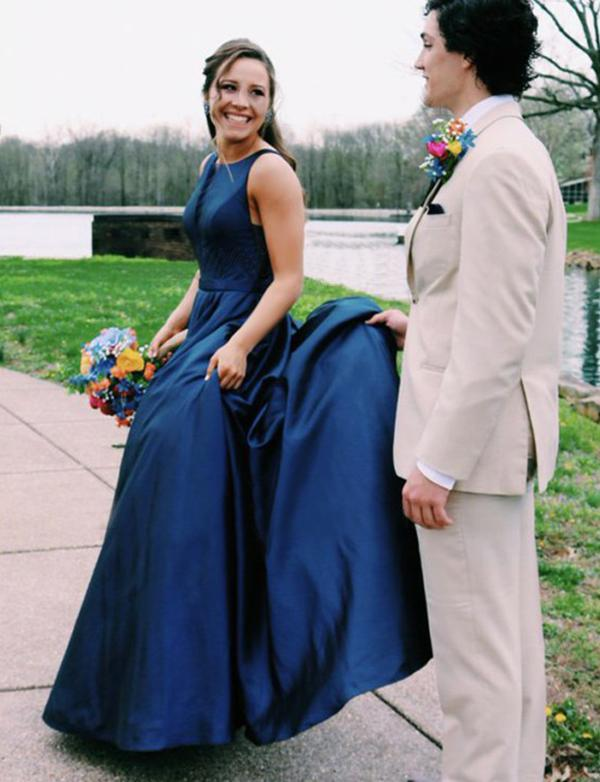 Simple A Line Jewel Sleeveless Long Cheap Navy Blue Satin Prom Dresses, TYP1511