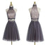 Popular grey halter two pieces beaded vintage unique style homecoming prom gowns dress, TYP0168