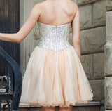 Tight Halter Sleeveless Short Cheap Beaded Tulle Homecoming Dresses Online, TYP1148