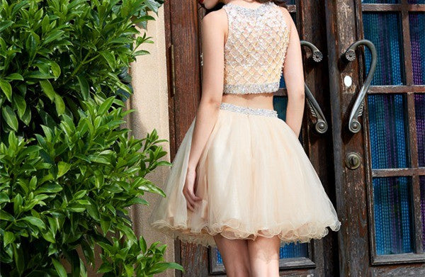Two Piece Scoop Short Cheap Tulle Beaded Homecoming Dresses Online, TYP1147