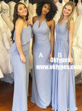 Sheath Jewel Sweep Train Blue Chiffon Bridesmaid Dress with Keyhole, TYP0853