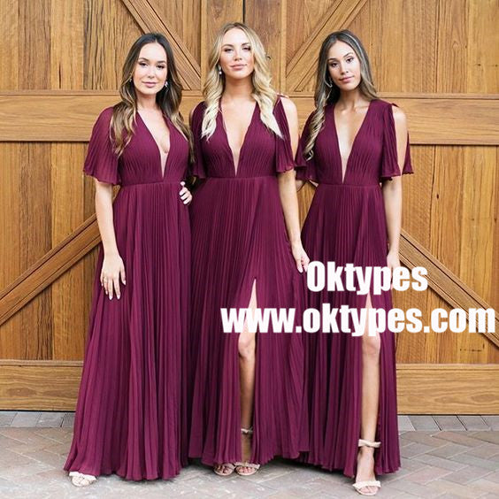 A-Line V-Neck Pleats Dark Red Chiffon Bridesmaid Dress with Split, TYP0871