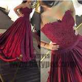 Claret Long Mermaid Prom Dresses, Appliques Prom Dresses, Sweetheart Prom Dresses, Zipper Prom Dresses, TYP0264