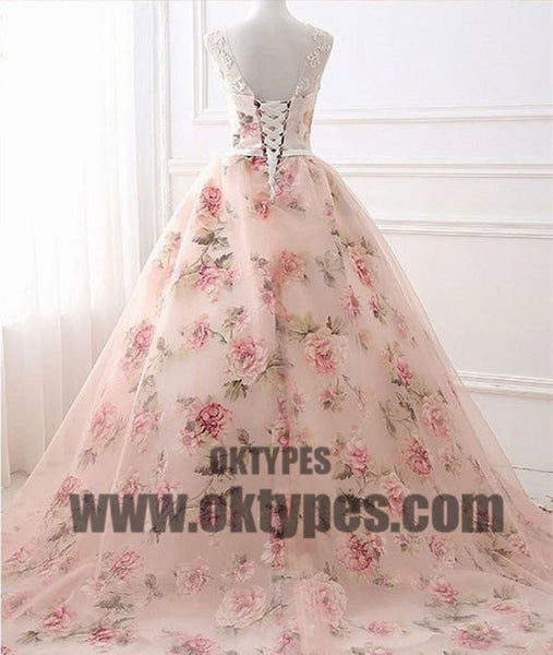 Long Ball Gown Appliques Tulle Prom Dresses, Lace Up Princess Prom Dresses, TYP0442