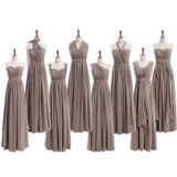 Most Popular Convertible Chiffon Gray Formal Online Cheap Long Bridesmaid Dresses for Wedding Party, TYP0114