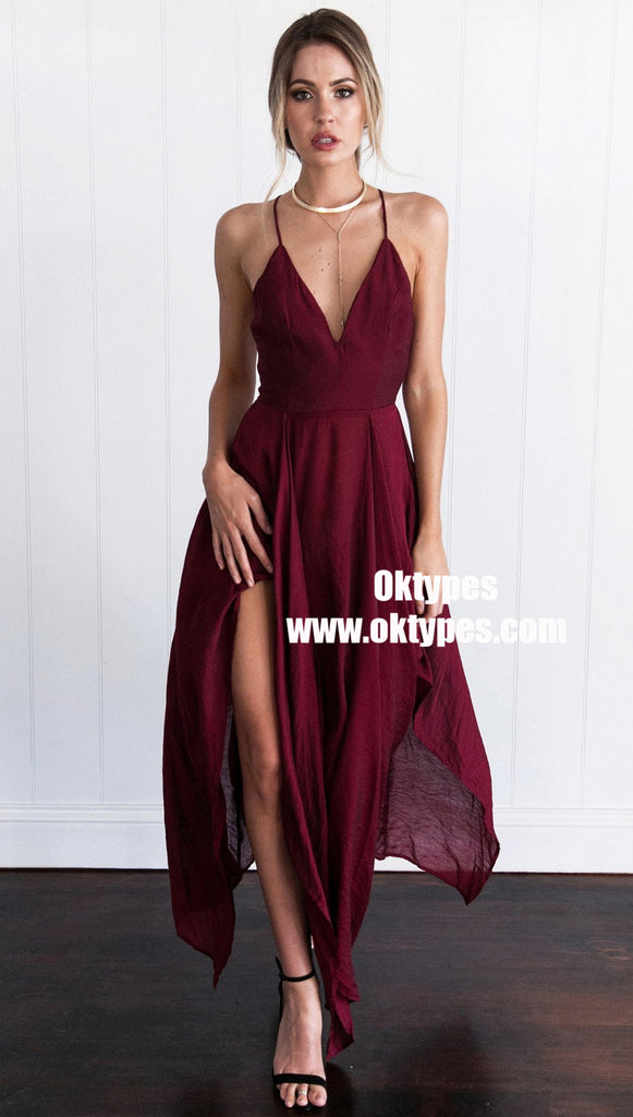 Simple Dark Red High How Side Slit Cheap Homecoming Dresses 2018, TYP0883