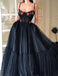Black Tulle Spaghetti Straps Long Evening Gowns With Appliques Prom Dresses, TYP1700
