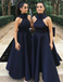 A-Line High Neck Navy Blue Satin Bridesmaid Dresses with Bow Knot, TYP1312