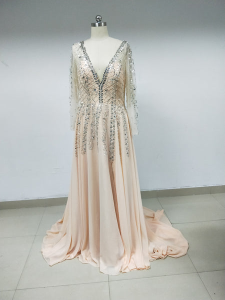 Chiffon Beaded Long Prom Dresses_US10, SO007