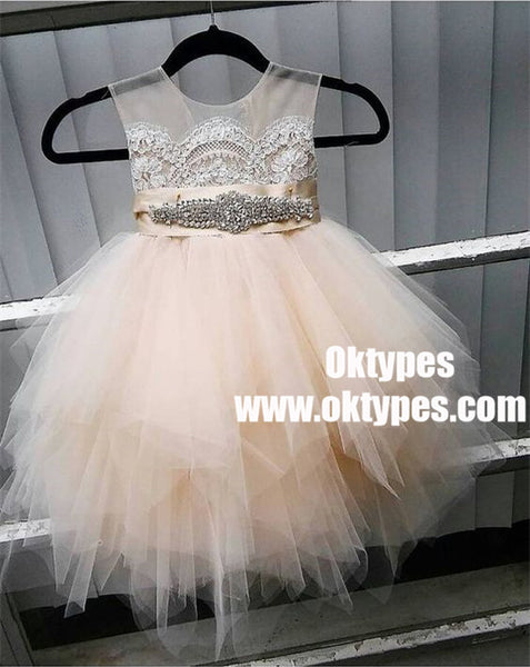 2018 Newest Scoop V-back Lovely Tulle Flower Girl Dresses, TYP0926