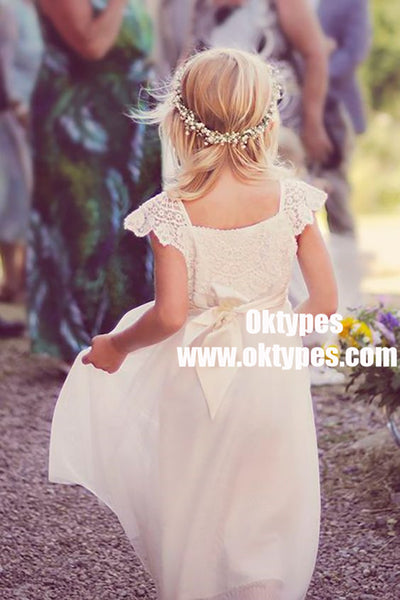 A-Line Square Cap Sleeves White Tulle Flower Girl Dress with Sash Lace, TYP0868
