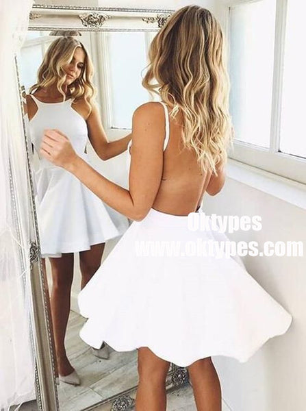 A-Line Round Neck Backless White Satin Short Homecoming Dresses, TYP0882