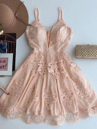 Cute V Neck Lace Short Cheap Homecoming Dresses 2018, CM514
