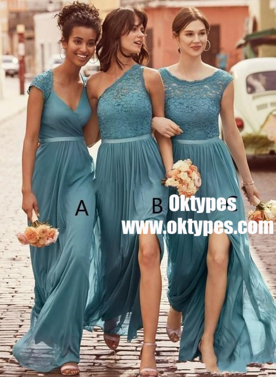 Mismatched A-Line Scoop Floor-Length Ice Blue Chiffon Bridesmaid Dress with Lace, TYP0875