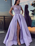 2019 Jewel Cap Sleeves Lavender Satin Evening Prom Dresses With Beading Split, TYP1512