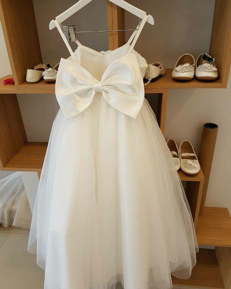 Spaghetti Straps Puffy Tulle Princess Flower Girl Dresses with Bow Knot, TYP1376