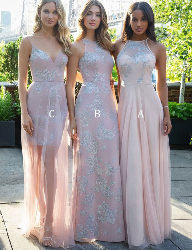 Mismatched A-Line Jewel Long Cheap Pink Tulle Bridesmaid Dresses with Appliques, TYP1318