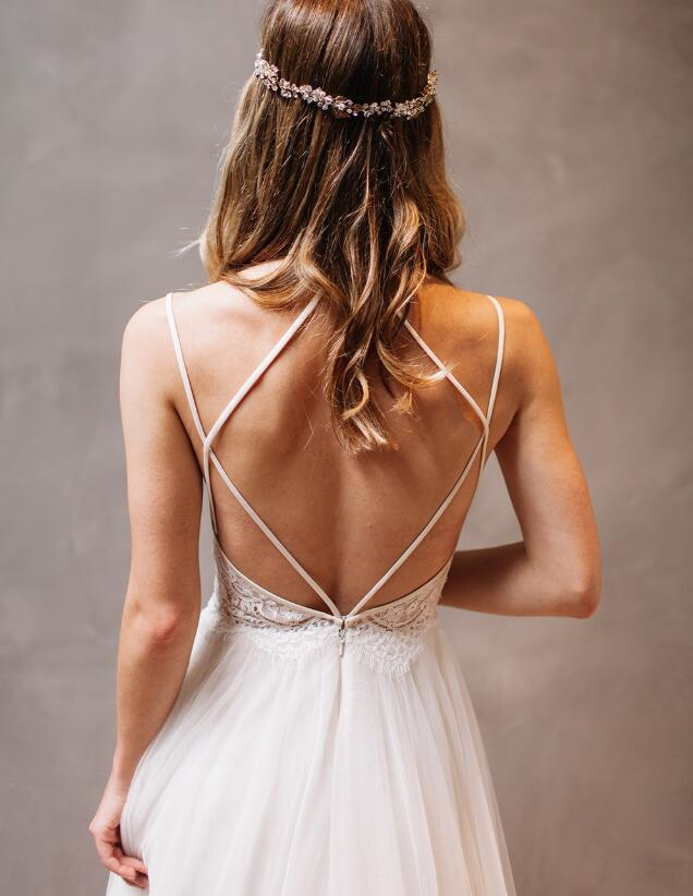Stylish Halter Criss-Cross Straps Long White Wedding Dresses with Beading Lace, TYP1040
