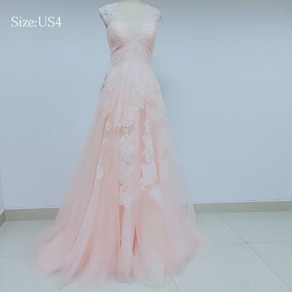 Light Pink Lace Tulle Prom Dresses_US4, SO006