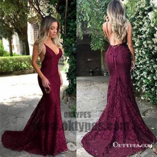 Sexy Prom Dresses, Long Red Lace Prom Dresses, V-neck Mermaid Prom Dresses, Backless Evening Dresses, TYP0060